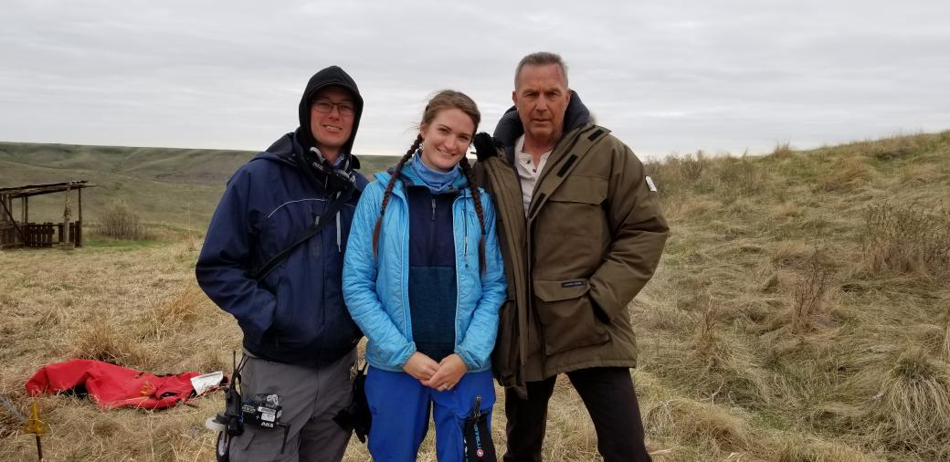 Amanda Trimble and her husband, Shawn Knievel, with lead actor, Kevin Costner, on location for Let Him Go.